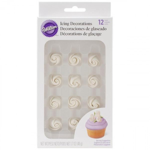 WILTON White Icing Roses Small